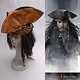 パイレーツ・オブ・カリビアン風(Pirates of the Caribbean)ジャック・スパロウの海賊 帽子 コスプレ用 ワーセット
