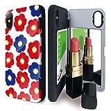 iPhone X/iPhone XS ケース tpu ミラー付き 花 花畑 手書き フラワー 赤 アイフォンX アイフォンXS アイフォンテンエス アイフォンテン アイフォン10 アイフォンエックス iPhone10 花柄 イラスト iPhoneケース