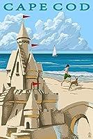 ケープコッド–Sand Castle 12 x 18 Art Print LANT-48756-12x18