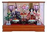 雛人形 ケース入り ひな人形 親王ケース飾り  木目調パノラマケース W53×D32×H38cm 2422-3