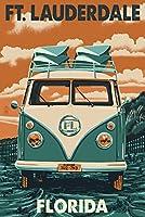 FT。Lauderdale、フロリダ州–VW Van Letterpress 9 x 12 Art Print LANT-44360-9x12