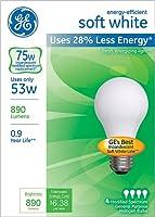 GE照明6624853ワットa19ソフトホワイト電球パック4カウント
