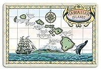 22cm x 30cmヴィンテージハワイアンティンサイン - ハワイ諸島の地図 - ビンテージなハワイアンカラーの地図製作のマップ によって作成された スティーブ・ストリックランド