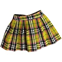 Fenteer スカート ドレス  12インチ アクション女性の体対応  1/6 ミニ チェック柄  飾り  かわいい  全5色 - イエロー