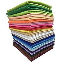 24枚 20cm x 20cm 不織布 羊毛フェルト 1.4mm厚 柔らかいタイプ DIY クラフト 手芸用 毛氈 カラフル 24色