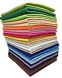 24枚 30cm x 20cm 不織布 羊毛フェルト 1.4mm厚 柔らかいタイプ DIY クラフト 手芸用 毛氈 カラフル 24色