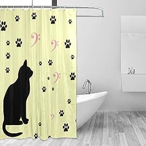 マキク(MAKIKU)防水防カビ加工 シャワーカーテン バスカーテン 猫 可愛い 足跡柄 茶色 ユニットバス 風呂カーテン 浴室 環境にやさしい 目隠し洗面所 間仕切り 取付簡単 カーテンリング付属 150x180