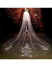 シュウクラブ- 花嫁のヘッド糸の結婚式のベールスーパーロング3.5メートルの花嫁の結婚式のベールブライダルジュエリー