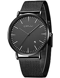 CRRJU 腕時計 超薄型 軽量 ステンレス製のブレスレット 亜鉛合金ケース 30M防水 日付表示 男女兼用ファッション フォーマル ビジネス 通勤 宴会 平日40mm ブラック