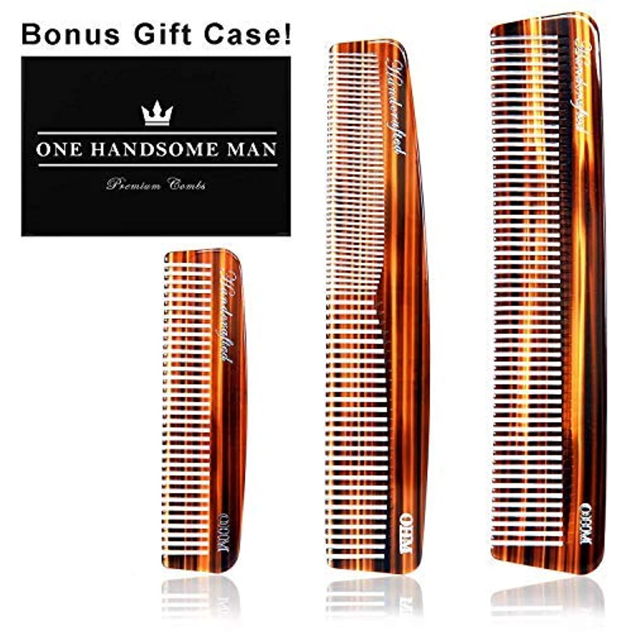 3 Set Mens Comb by One Handsome Man - Anti-Static Hair Comb, Beard Comb, and Mustache Combs For Men with Leather...