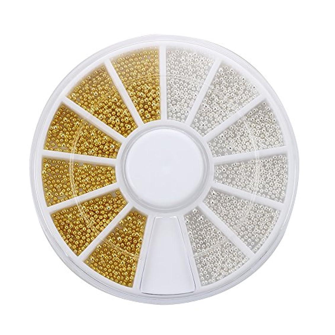 ガス世界の窓平行SODIAL(R) 300xネイルアート ゴールドシルバーボールビーズチップ装飾+ホイールファッション