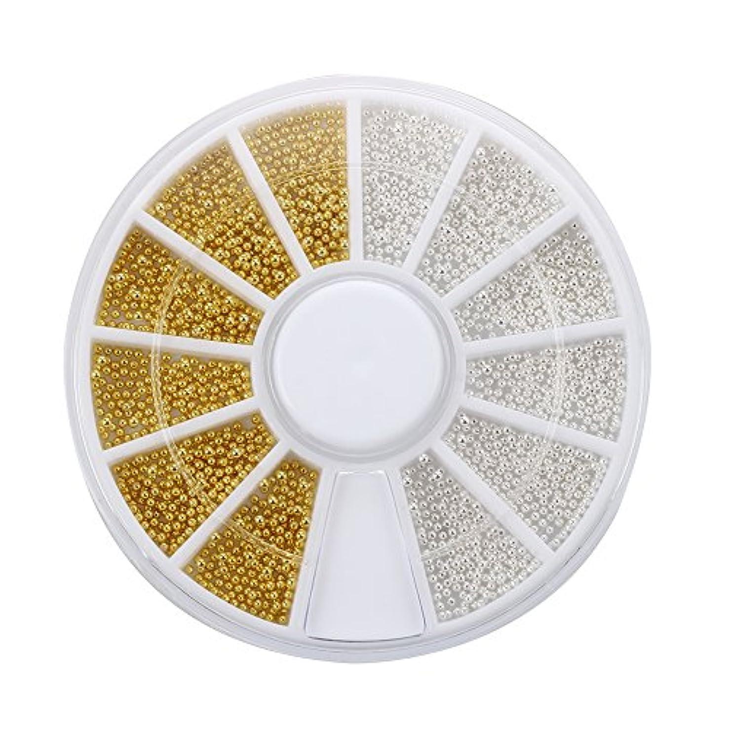 願望ブートひいきにするSODIAL(R) 300xネイルアート ゴールドシルバーボールビーズチップ装飾+ホイールファッション