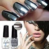 AuCatStore(TM) New 2Pcs Mirror Effect Chrome Metallic Silver Nail Art Varnish Polish &Base Coat