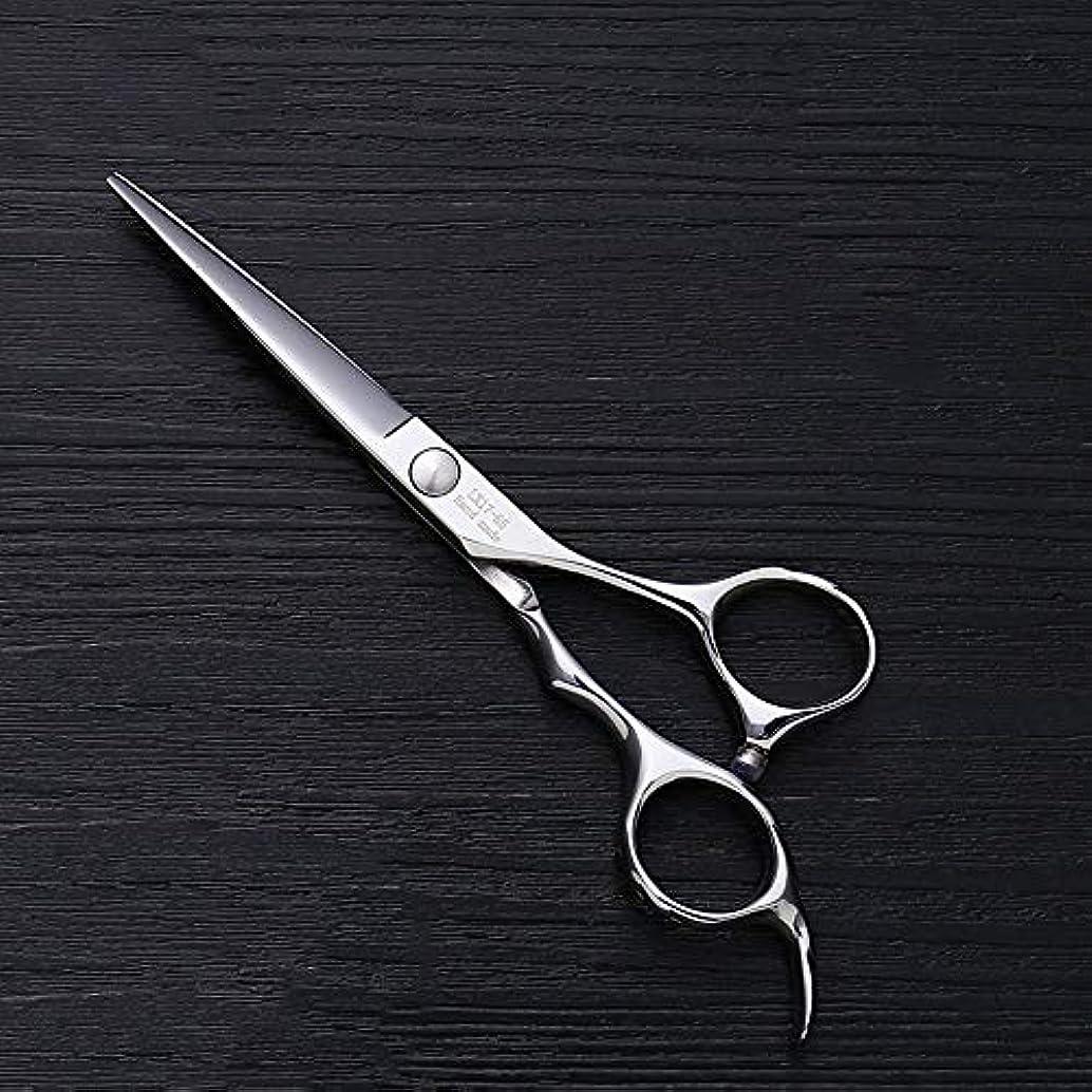志す信頼性のあるトランジスタ5.5インチ理髪師プロのヘアカットフラットせん断高品質理髪ツール モデリングツール (色 : Silver)