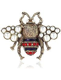 QTKJ Vintage Bee Pearl Brooch Pin Delicate Bee Crystal & Rhinestone Pin for Women Clothing Bag Decor