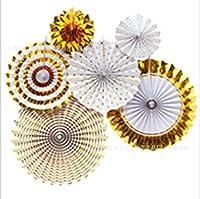 [TamaFleur] ペーパーファン バースデー デコレーション 誕生日 飾り付け 装飾 セット マルチカラー (ゴールド×ホワイト6個セット)