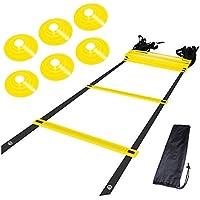 トレーニングラダー アジリティラダー 5m プレート12枚  マーカーコーン6枚 子供用可能 連結可能 敏捷を養う 野球 サッカー練習 スポーツ練習 トレーニングセット  耐久性 畳み可能 収納袋付き 部活