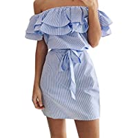 Misaky Women's Off Shoulder Striped Ruffles Strapless Mini Dresses