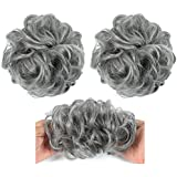 MYCHANSON 1 pack Girl Curly Messy Ponytail Holder Hairpiece Wig Hair Ring Bun High temperature silk curling ring(Deep Gray)