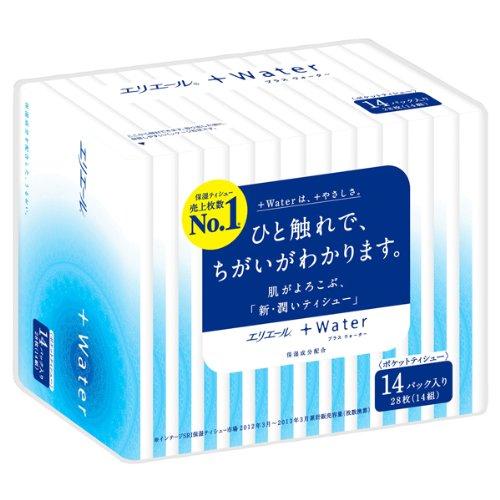 エリエール +Water(プラスウォーター) 14組28枚×14箱入り パルプ100%