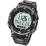 [LAD WEATHER] スマートウォッチ SNS 着信 メール 通知機能 睡眠管理 デジタル腕時計 lad037 (ブラック(通常液晶))