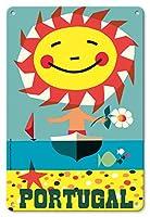 22cm x 30cmヴィンテージハワイアンティンサイン - ポルトガル - ビンテージな世界旅行のポスター によって作成された グスタボ フォントーラ c.1959