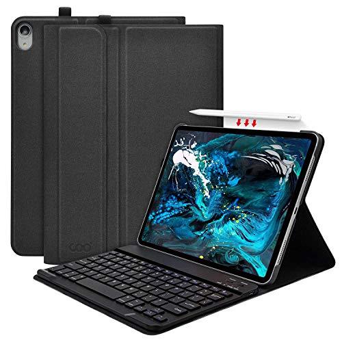 iPad Pro 11 キーボード ケース(2018秋新型モデル) ワイヤレス Bluetooth キーボード Apple Pencil ワイヤレス充電対応 収納可能 脱着式 手帳型 オートスリープ機能 多角度調整 軽量 薄型 [2019最新版専用キーボード] 日本語説明書付着 (ブラック)