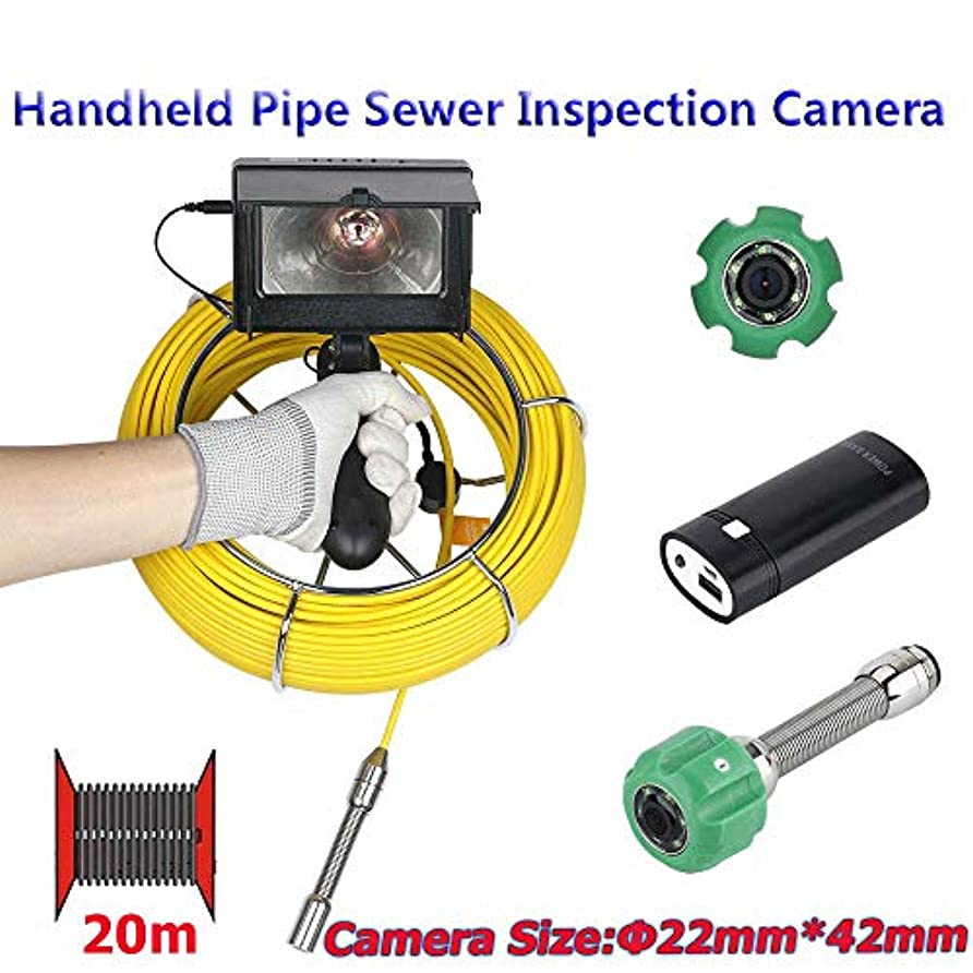 変更マディソンかんたん20メートル4.3インチ22ミリメートルハンドヘルド工業用パイプ下水道検査ビデオカメラip68防水1000 tvlカメラで6ワットledライト