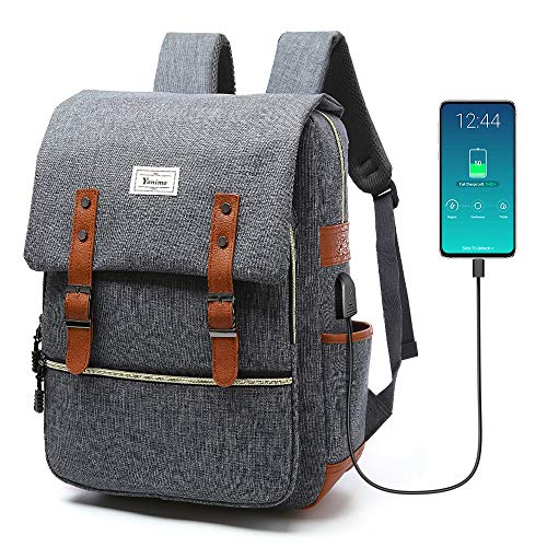 PC リュック バックパック USBポート 大容量 軽量 ビジネスリュック 耐衝撃 USB延長コード付き 通勤 通学 旅行 カバー 男女兼用 15.6インチ 出張バッグ YONiMO (灰色)