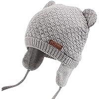 XIAOHAWANGベビーニット帽 赤ちゃん 女の子 男の子 耳保護付き 綿 無地 柔らかい 暖かい かわいい 防風?防寒?保温 春 秋 冬