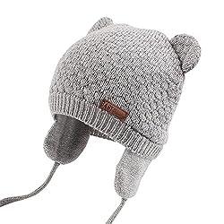 XIAOHAWANGベビーニット帽 赤ちゃん 女の子 男の子 耳保護付き 綿 無地 柔らかい 暖かい かわいい 防風・防寒・保温 春 秋 冬(7-15ヶ月, グレー)