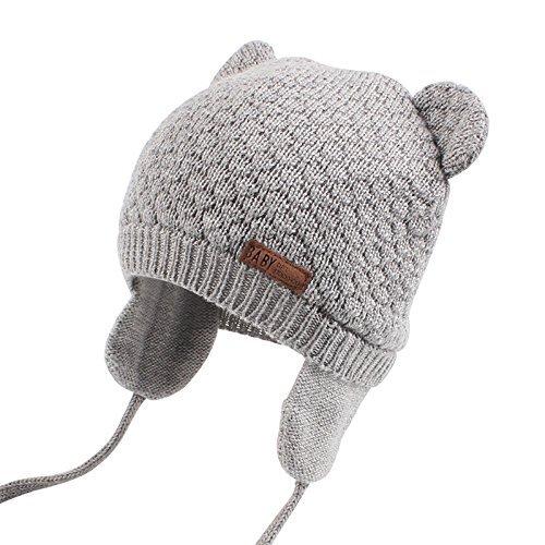 XIAOHAWANGベビーニット帽 赤ちゃん 女の子 男の子 耳保護付き 綿 無地 柔らかい 暖かい かわいい 防風・防寒・保温 春 秋 冬(0-7ヶ月, グレー)