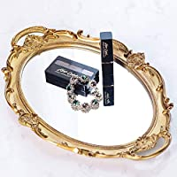 "Moseley Polyresin Ellipse Antique Decorative Mirror Tray, Makeup Organizer, Jewelry Organizer, Serving Tray, 9.8""x14.4"", Gold"