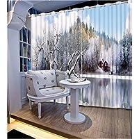 現代のファッションカーテン印刷雪の風景のカーテンリビングルームの寝室の3Dウィンドウカーテンホームデコレーション用 - 116 cm x 137 cm(46インチx 54インチ)