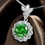 ロシア産デマントイドガーネット2.2ct ダイヤモンド0.96ct プラチナ ネックレス