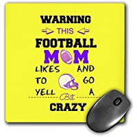 Warning this football mom likes to go crazy yellow and purple - Mouse Pad 8 by 8 inches (mp_219885_1) [並行輸入品]