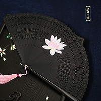 5インチの女性のファン和風と風の江戸日本の着物のファンミニフル竹中空小さな折りたたみファン彫刻ファン,18.5CM全竹彩绘-荷花