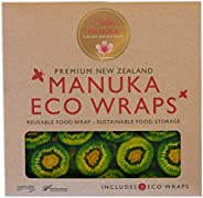 Bella Manuka Eco Bees Wrap Assorted 3 Pack, Reusable Beeswax Food Wraps, Plastic Free Alternative for Food Sto