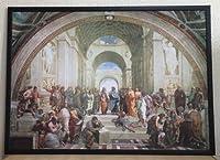 ラファエロ アテネの学堂【ポスター+フレーム】約 93 x 67 cm ブラック