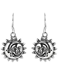 Glinting Celestial Sun And Moon .925 Sterling Silver Dangle Earrings