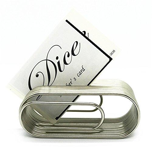 【Hikaru.G】名刺スタンド 名刺立て カード 立て スタンド 卓上 メタリック製 金属 おしゃれ かっこいい シンプル (シルバー)