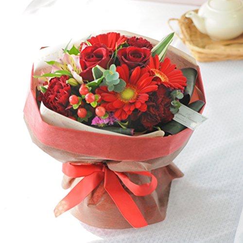 花由 そのままブーケ(花束) チェリーレッド 日時指定便 フラワーギフト 花束 誕生日プレゼント 女性 お祝い 結婚祝い 退職祝い