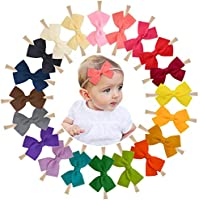"WillingTee 4"" Baby Girls Nylon Headbands Hairbands Elastic Hair Bows for Newborn Infant Toddlers and Kids"