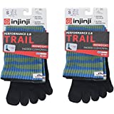 Injinji Unisex Trail Midweight Crew Socks Bundle (2 Pack)