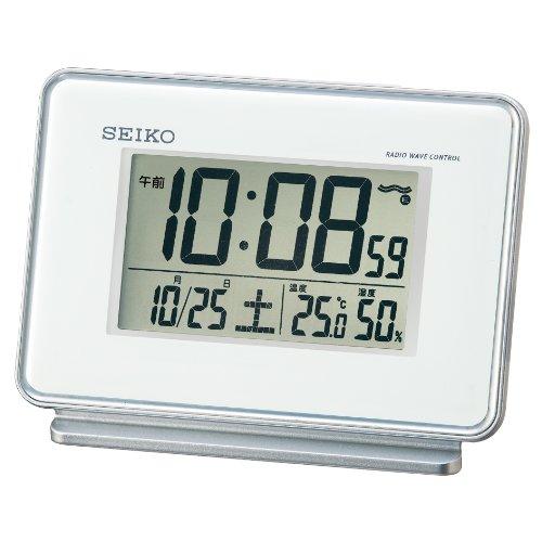 SEIKO CLOCK (セイコークロック) 目覚まし時計 電波 デジタル 2チャンネルアラーム カレンダー・温度・湿度表示 白 SQ767W