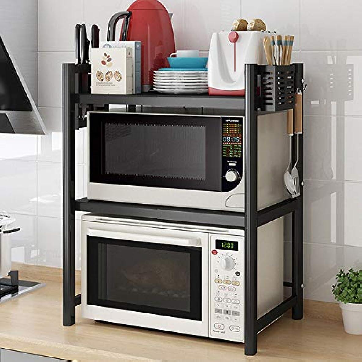 極端な親密な測定電子レンジラック、拡張可能で高さ調整可能な電子棚、2層のキッチンカウンター棚、3つのフックが付いたオーガナイザー。省スペースの耐久性のあるステンレス鋼の棚.