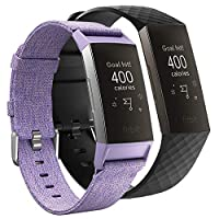 AFUNTA Replacement Wristband Compatible Charge 3/Charge 3 Special, 1 Pcs Woven Fabric Breathable & 1 Pcs Soft Silicone Watch Strap Quick Release Adjustable Wristband – Purple & Black