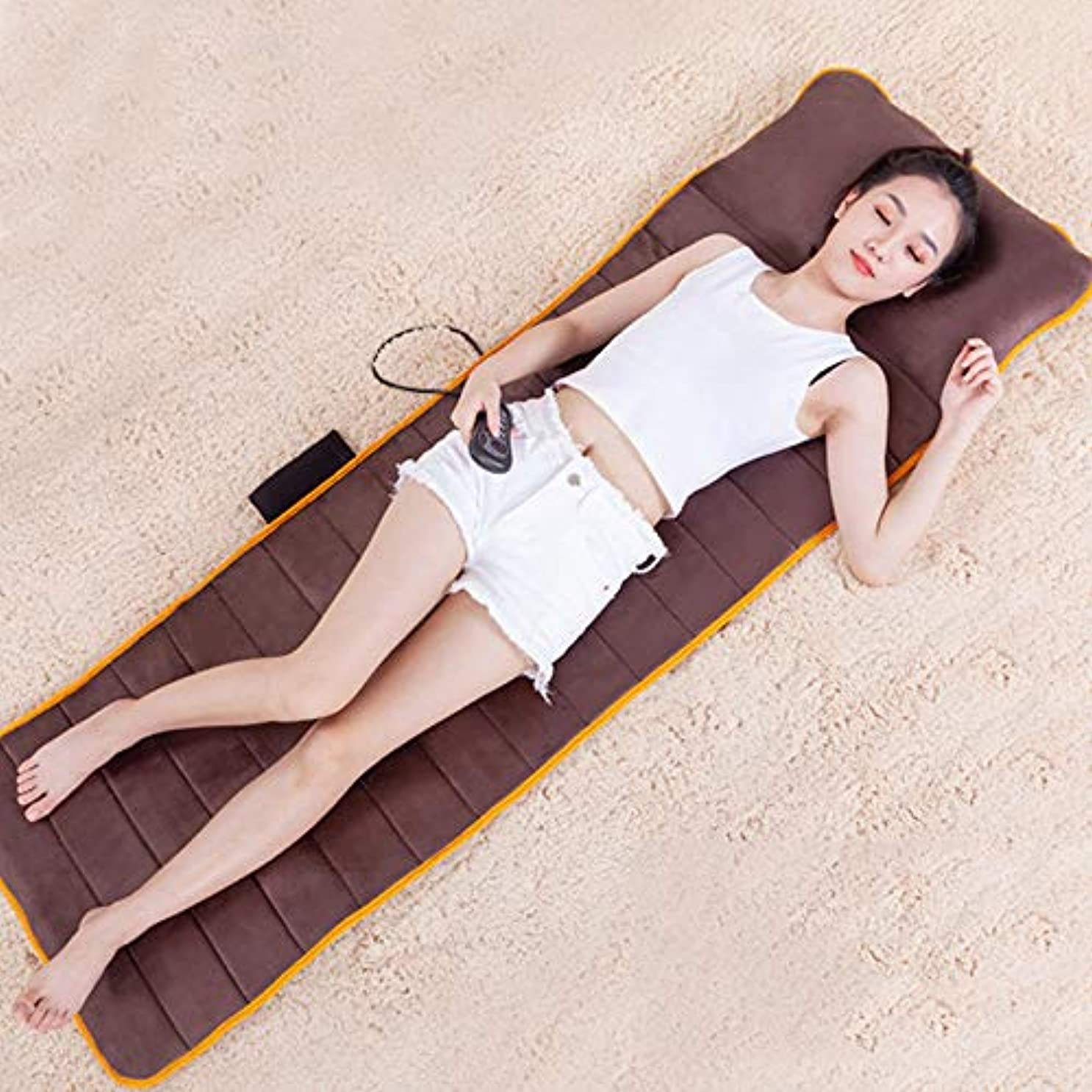 マラウイこどもの宮殿センチメンタルマッサージマット - 熱 - 振動可能なマッサージパッド - 首、背中、足の痛みを軽減するための10振動モーターマットレスパッド