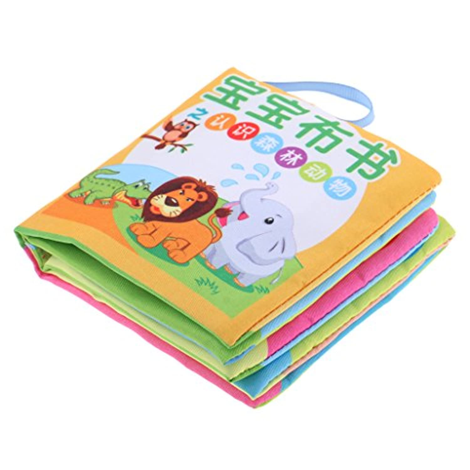 MonkeyJack 10 Pages Soft Cloth Cognize Durable Book Chinese English Colours Shapes Educational Toys for Baby Kids Development Forest Animal