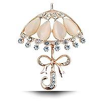 jewelbeautyゴールドメッキホワイトオパールShiny Crystals Rhines傘ブローチピン ホワイト